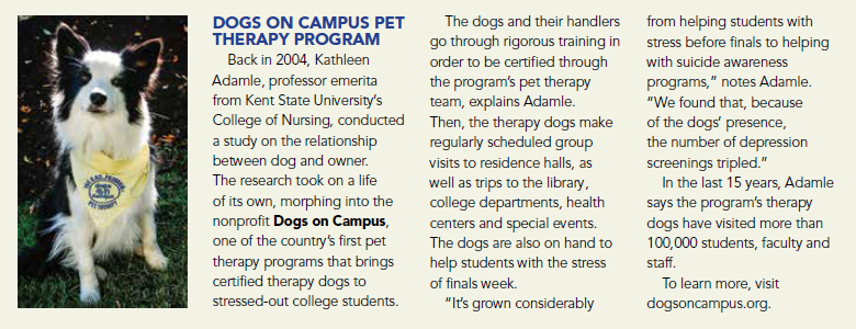 Dogs On Campus Article - USA Today Pet Guide 2019
